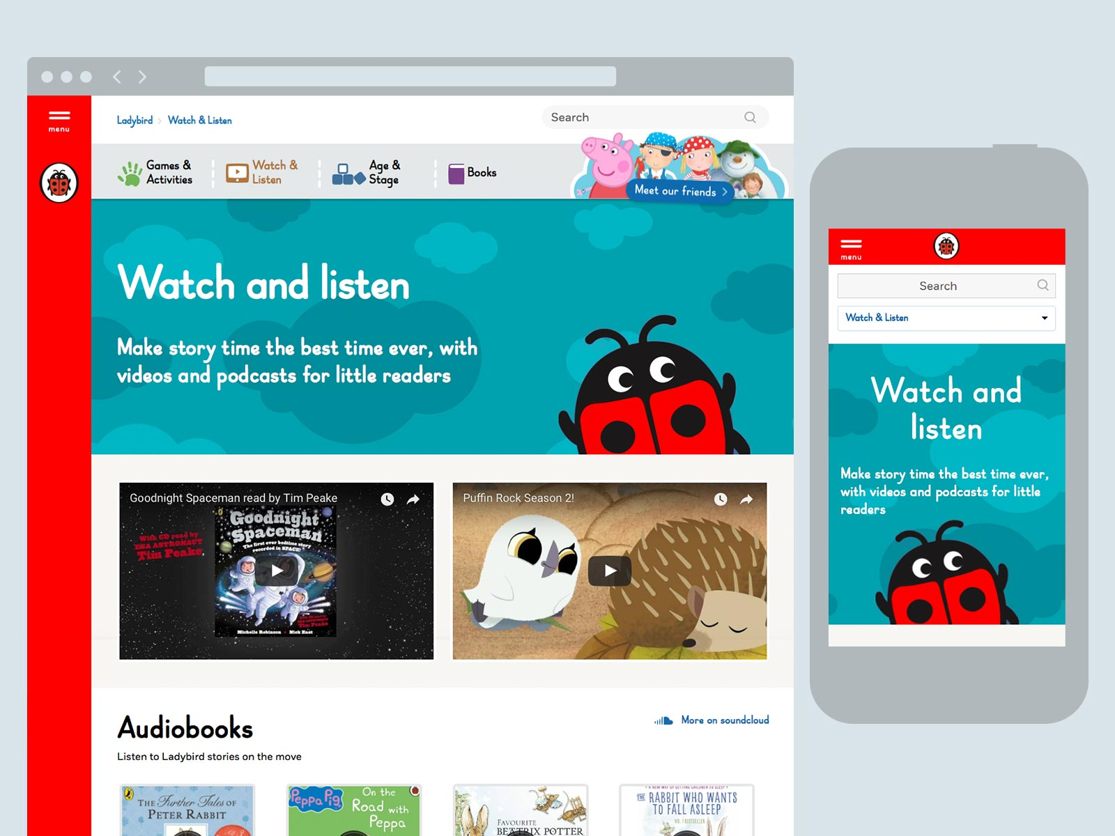 Watch and listen landing page